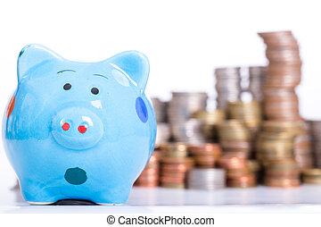 groeiende, piggy bank , financiën
