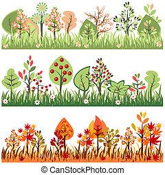 groeiende, randjes, seamless, bomen