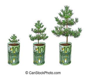 groeiende, rekening, boompje, eurobiljet