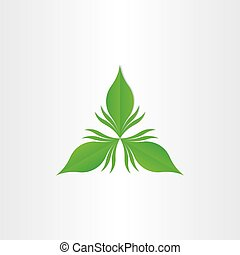 groen blad, abstract, vector, symbool