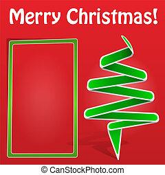 groen boom, kerstmis kaart, origami