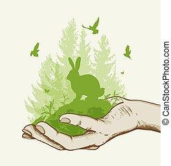 groen boom, konijn, hand