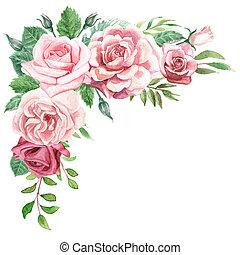 groen, bouquetten, watercolor, rozen, floral, hoek