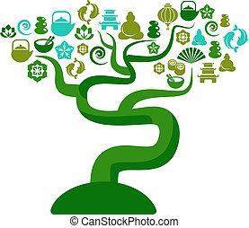 groen en blauwe, boompje, met, zen, en, yoga, iconen