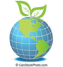 groen globe, met, bladeren
