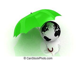 groen globe, paraplu, onder