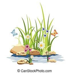 groen gras, en, bloemen, in, de, rots