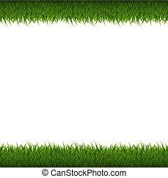 groen gras, grens, vrijstaand
