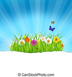 groen gras, met, bloemen, en, papier