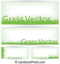 groen gras, set, vrijstaand, op wit, achtergrond