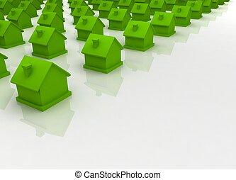 groen huis, in, de, voorgrond