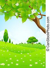 groen landschap, met, bloemen