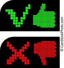 groen rood, handen