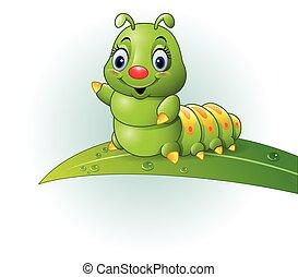 groen rups, blad, spotprent