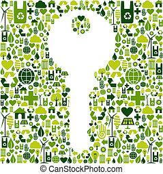 groen sleutel, achtergrond, iconen