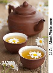 groen thee, met, chamomile, bloemen