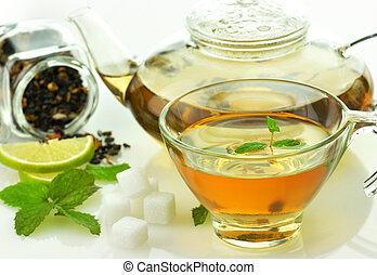 groen thee, set, met, citroen, en, munt