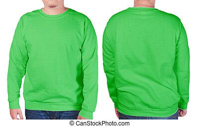 groen trui, lang, sleeved, hemd, mockup, mal