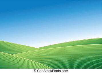groen veld, en blauw, hemel