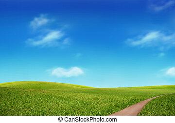 groen veld, en, hemelblauw
