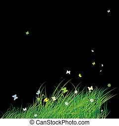 groen veld, met, vlinder, zomer, achtergrond