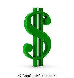 groen wit, dollar, render, 3d