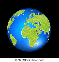 groene aarde, bedekt, met, gras