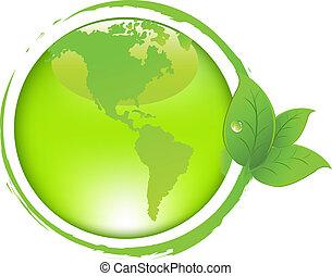 groene aarde, met, bladeren