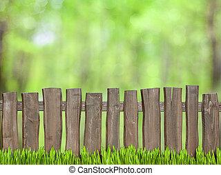 groene achtergrond, met, houten hek