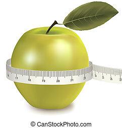 groene, afgemeten, appel, meter.