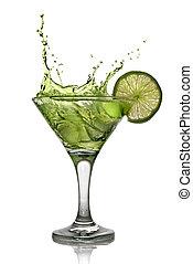 groene, alcohol, cocktail, met, gespetter, en, groene, kalk,...