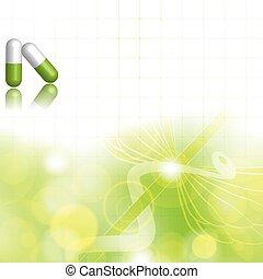 groene, alternatief, concept, medicatie, achtergrond