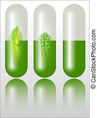 groene, alternatief, concept, medicatie