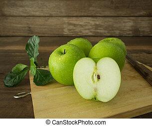 groene appel, helft