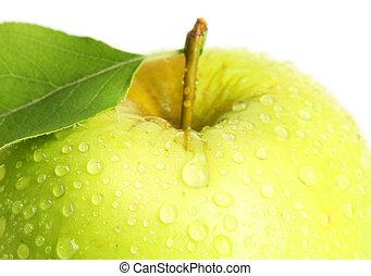 groene appel, met, blad, op wit, achtergrond