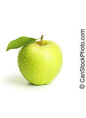 groene appel, met, blad, vrijstaand, op wit