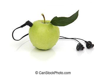 groene appel, met, headphones, op wit