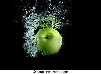 groene appel, met, plonsen