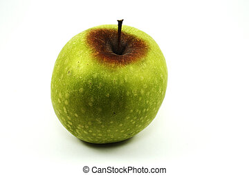 groene appel, met, rot, op wit
