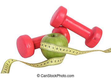 groene appel, op, cassette, met, dumbbell