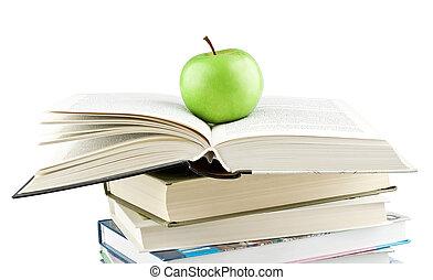 groene appel, op, de, uitgebreid, schoolboek