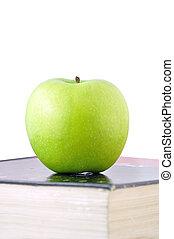 groene appel, op, een, schoolboek