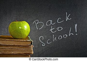 groene appel, op, schoolboek
