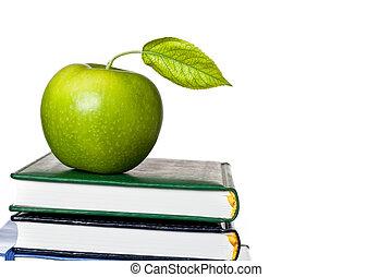 groene appel, op, schoolboek, vrijstaand