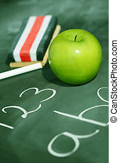 groene appel, voor, school