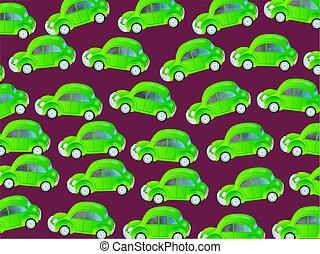 groene auto, behang