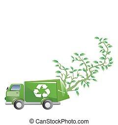 groene auto, met, boompje