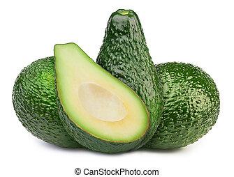 groene, avocado's, groep, vrijstaand