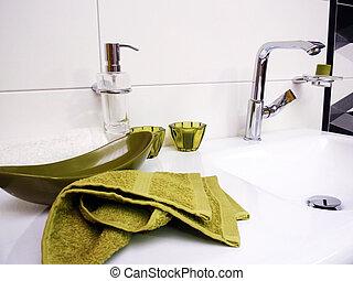 groene, badkamer, baddoek, zinken, schoonmaken