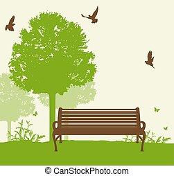 groene, bankje, boompje, onder